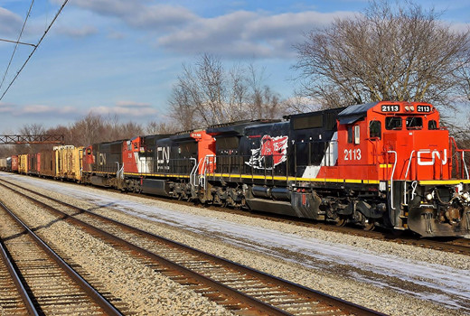 Last week the Federal Railroad Administration announced rising monetary penalty collections for citations it has issued, part of what it calls a renewed focus on its public safety role.  Here Canadian National Railways train M338-22 heads south with mixed freight in Olympia Fields, Illinois on January 23rd, 2016. Image © 1/2016 by Nikki Burgess; all rights reserved.