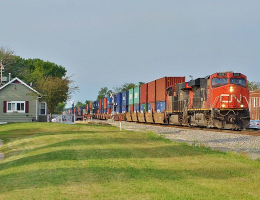 Transport safety in an international arena, like this Canadian National train in rural Illinois, calls for an international information resource—our modern ERG. (image © 8/2015 Nikki Burgess, used w/permission)