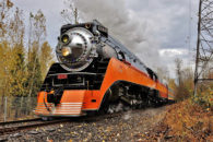 "The FRA issued a safety advisory that makes recommendations for increasing hazard mitigation for on-track railroad workers near operating trains.  The advisory applies to all federally regulated US railroad activity, including even holiday excursion services like the Southern Pacific ""Daylight"" steam locomotive operating on the Portland & Western Railroad in Oregon on November 26th, 2016.  Image © 11/2016 by Nikki Burgess; all rights reserved."