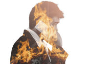 double exposure of business man and fire burn and way with cement, concept urgent situation