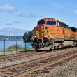 "The FRA kicked off April by announcing continued grant program funding availability to help the nation's railroad's meet the so-called ""PTC Mandate"" imposing new control requirements on trains, like this BNSF freight rolling along Puget Sound near Tacoma, Washington on April 2nd, 2016.  Photo © 4/2016 by Nikki Burgess; all rights reserved"