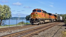 """The FRA kicked off April by announcing continued grant program funding availability to help the nation's railroad's meet the so-called """"PTC Mandate"""" imposing new control requirements on trains, like this BNSF freight rolling along Puget Sound near Tacoma, Washington on April 2nd, 2016.  Photo © 4/2016 by Nikki Burgess; all rights reserved"""