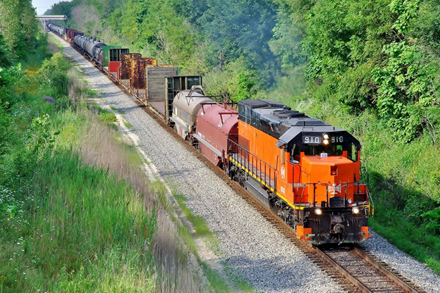 Under a new federal grant program, communities can receive funds to help increase safety for flammable liquid carrying trains operating in their communities, like this Canadian National train in Monee, Illinois. Image © 8/2015 by Nikki Burgess; used with permission.