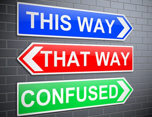 Illustration depicting signs with a confusion concept.