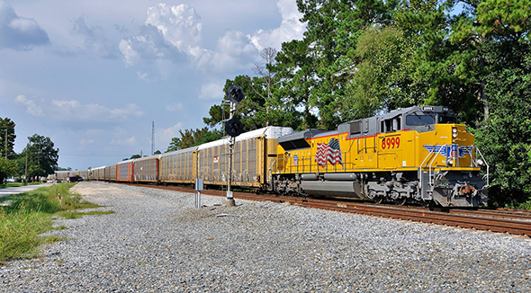 Rail carriers got mixed news last week as the FRA addressed new issues surrounding PTC reporting, and the STB withdrew a hazardous materials expense reporting proposal.  A Union Pacific train passes through Spring, Texas, north of Houston, on the evening of September 20th.   Image © 9/2016 by Nikki Burgess; all rights reserved.