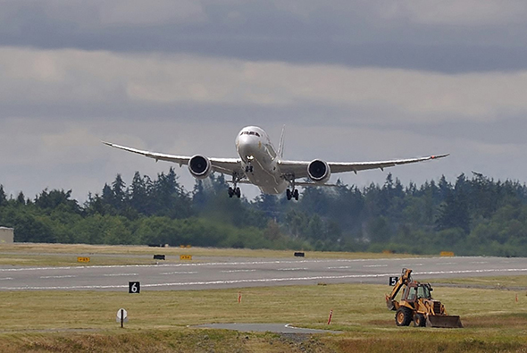Fines for hazmat shipping violations in all modes will get steeper August 1st under new PHMSA rules targeting violators. A Boeing 787 Dreamliner lifts from Everett, Washington's Paine Field on Saturday, June 22nd, 2016. Image © 6/2016 by Nikki Burgess; all rights reserved.