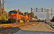 US regulatory agencies PHMSA and OSHA have released brand new guidance helping to explain the correct labeling options available for users of bulk containers.  Such guidance includes steps for operators of rail cars, like the oil carrying tank cars seen in this BNSF unit train northbound at Auburn, Washington on September 18th, 2016. Image © 9/2016 by Nikki Burgess; all rights reserved.